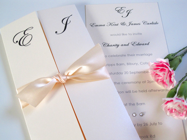 Gatefold invitation with ribbon and diamantes