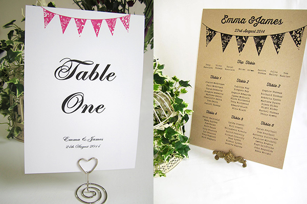 Summer bunting table seating plans