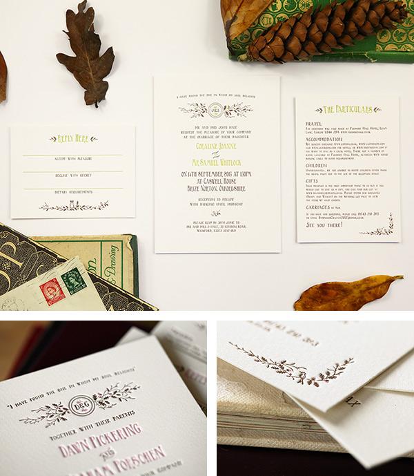 Rustic oak tree letterpress invitaiton