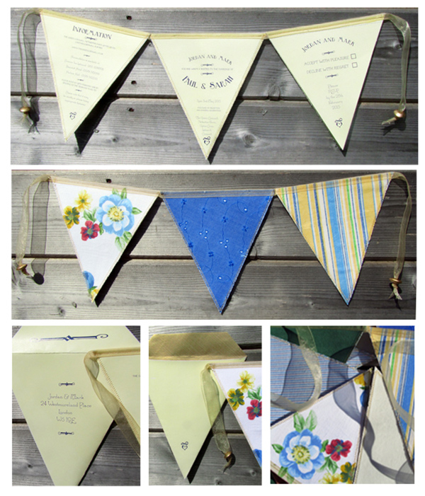 Summer fete, bunting wedding invitation