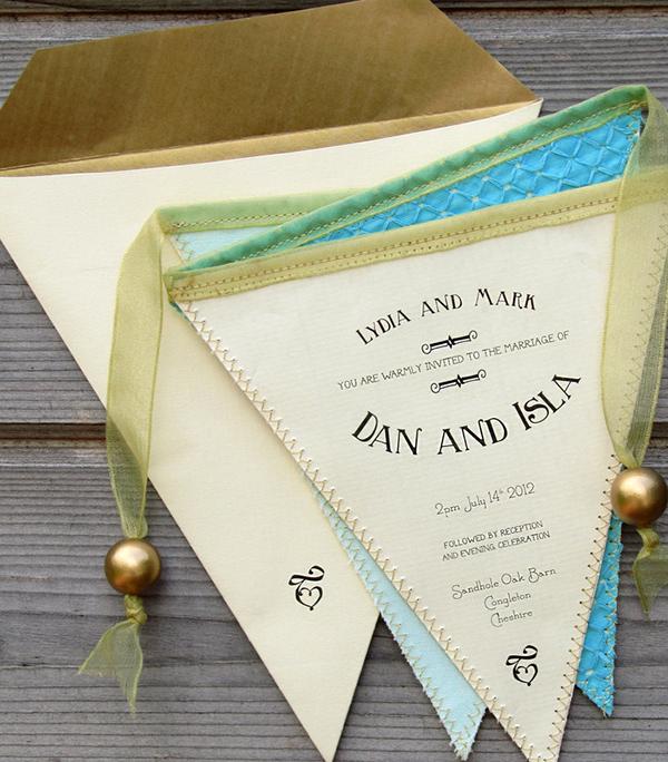 Village fete, bunting wedding invitation
