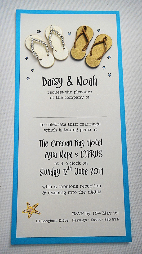 The handmade beach wedding invitations are just 500 each and the printed