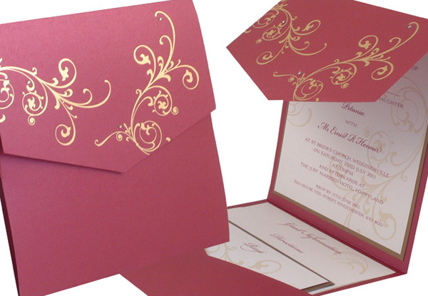 Scroll Designs For Wedding Invitations. Pocketfold wedding invitation