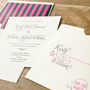 'Rosa' shabby chic letterpress invitaton