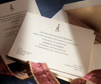 Gilded style classic wedding invitation