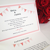 'Portobello' bunting invitation by Little Angel Weddings