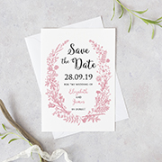 foliage wreath rustic save the Date card