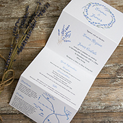 'French Lavender' tri-fold rustic invitation