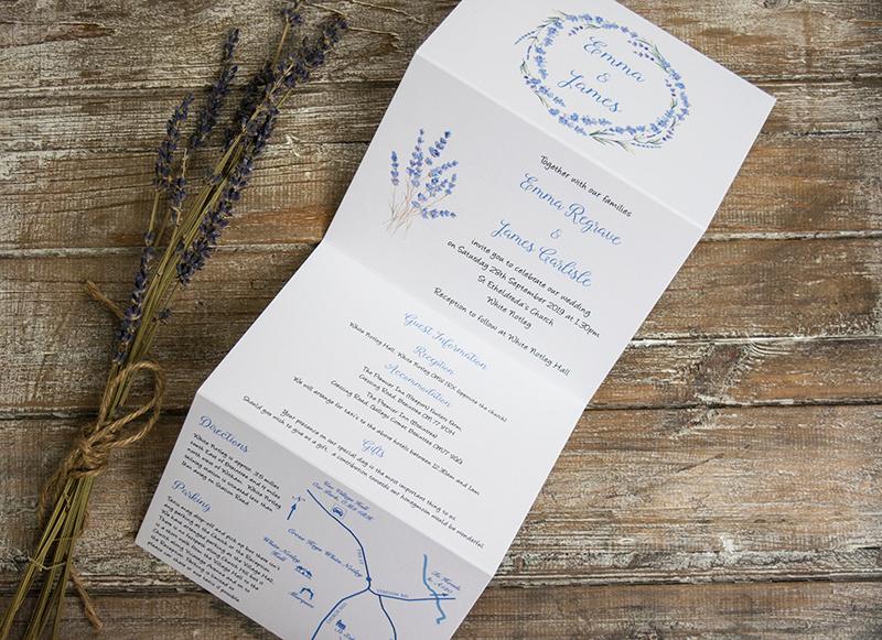 French Lavender Rustic Lavender Wedding Invitation